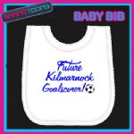 KILMARNOCK FOOTBALL WHITE BABY BIB EMBROIDERED